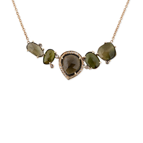 5 FREEFORM GREEN TOURMALINE NECKLACE