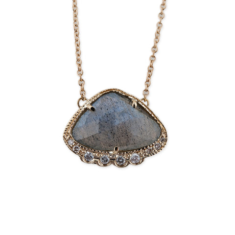 FREEFORM LABRADORITE TRIANGLE NECKLACE
