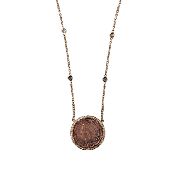 PAVE COPPER COIN NECKLACE