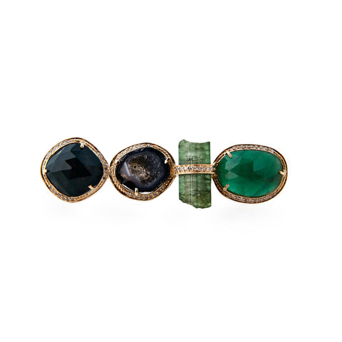 BLOODSTONE, GEODE + EMERALD KNUCKLE RING