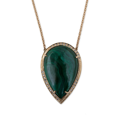 LARGE MALACHITE TEARDROP NECKLACE
