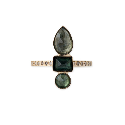 GREEN TOURMALINE TEARDROP BAGUETTE ROUND RING