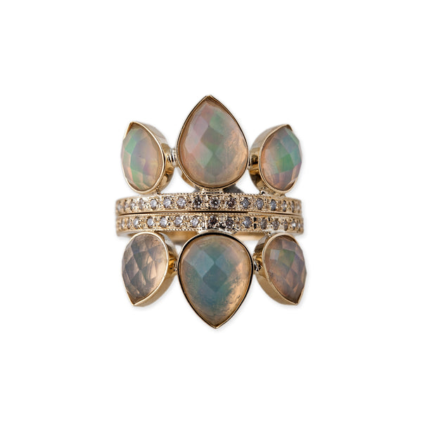Gemstone Petal Stack Ring