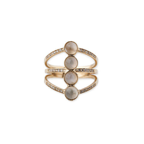 3 BAR MOONSTONE RING