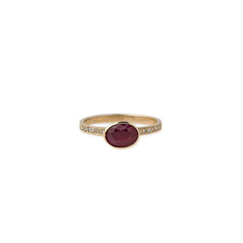 PAVE DIAMOND OVAL RUBY RING