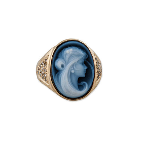 CARVED AGATE BLUE PRINCESS CAMEO RING