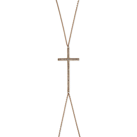 LARGE PAVE CROSS BODYCHAIN