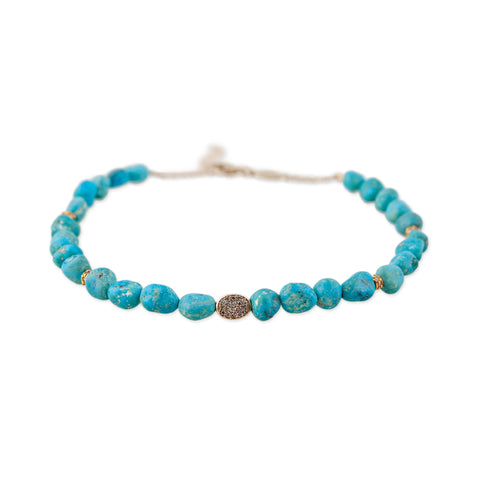 PAVE TURQUOISE BEAD ANKLET