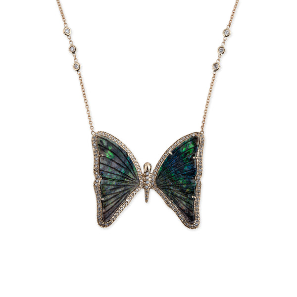 PAVE GREEN OPAL BUTTERFLY NECKLACE