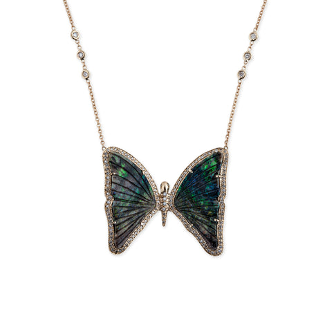 PAVE DIAMOND GREEN OPAL BUTTERFLY NECKLACE