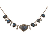 LABRADORITE TEARDROP + SHAKER NECKLACE