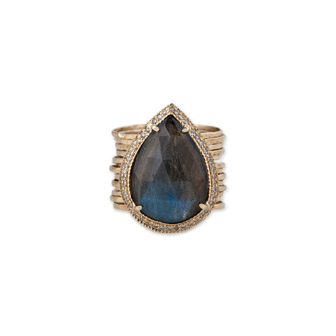 LABRADORITE TEARDROP MULTI WAIF RING