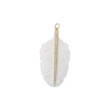 LARGE PAVE BONE FEATHER CHARM