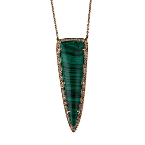 LONG MALACHITE TRIANGLE NECKLACE