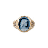 CARVED AGATE BLUE CHARLOTTE CAMEO RING