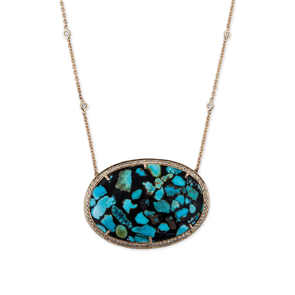 MOSAIC TURQUOISE OVAL NECKLACE