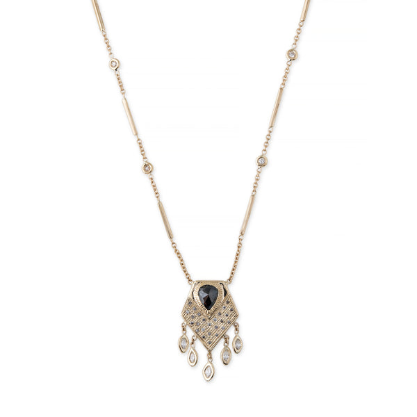 PAVE TEARDROP ROSE CUT PYRITE SHIELD SHAKER NECKLACE