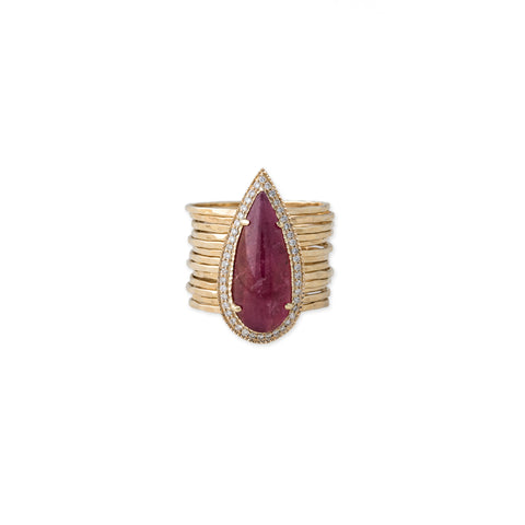 RHODONITE TEARDROP MULTI WAIF RING