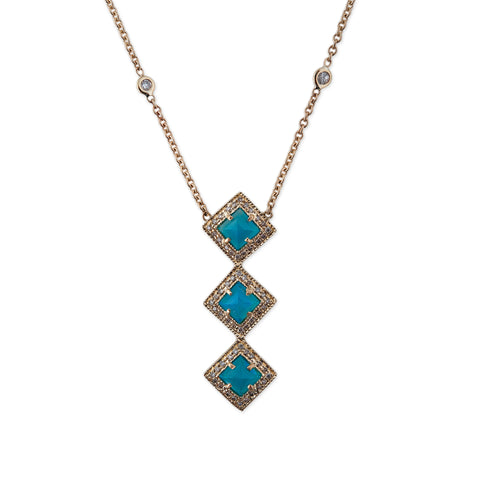 TRIPLE BLUE OPAL VERTICAL KITE NECKLACE