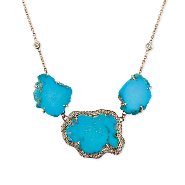 3 FREEFORM TURQUOISE SLICE NECKLACE