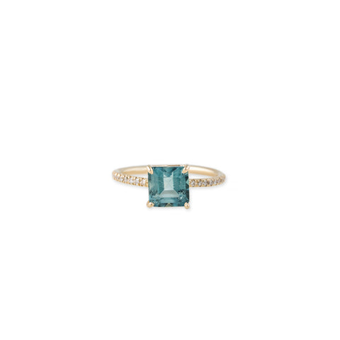 PAVE VINTAGE BAND SQUARE BLUE TOPAZ RING
