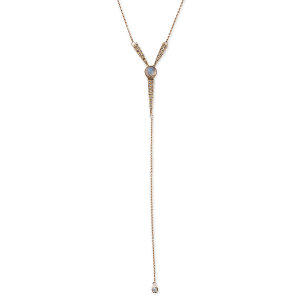 S&H MOONSTONE ICE PICK Y NECKLACE