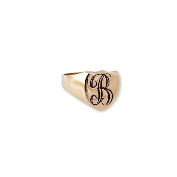 SHIELD INITIAL SIGNET RING