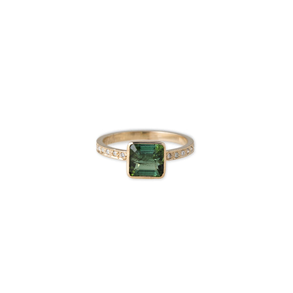 PAVE DIAMOND SQUARE GREEN TOURMALINE RING