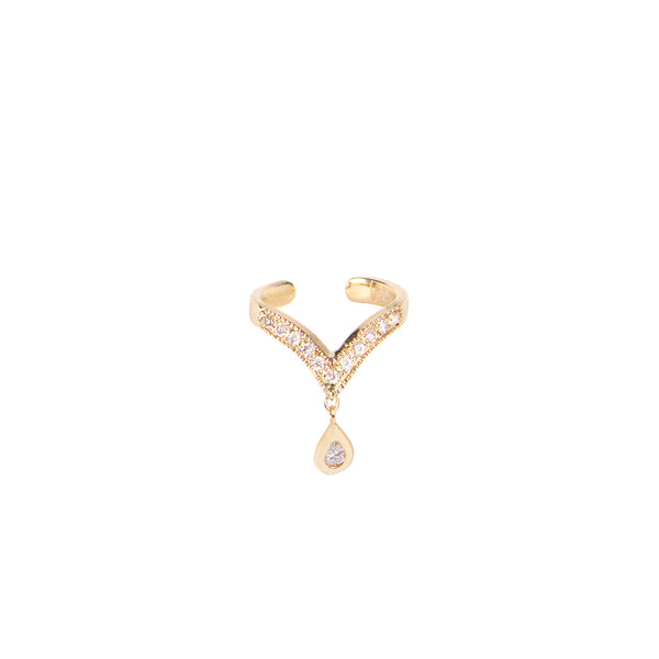 DANGLE TEARDROP DIAMOND V EAR CUFF