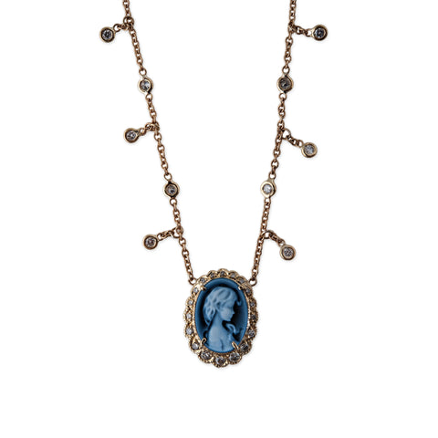 BLUE BROOKE CAMEO DIAMOND SHAKER NECKLACE