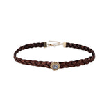 VINTAGE MOONSTONE BROWN LEATHER CHOKER