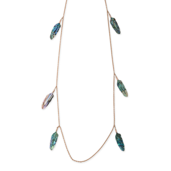 ABALONE FEATHER NECKLACE