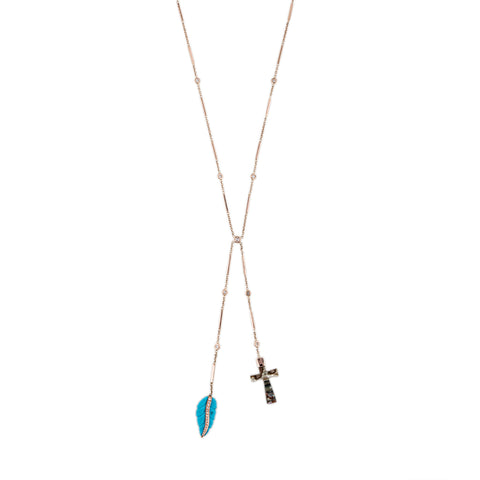 TURQUOISE LEAF + ABALONE CROSS BOLO NECKLACE
