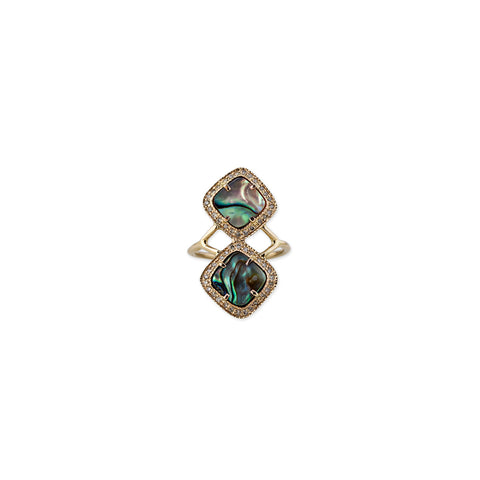 MINI ABALONE PAVE TRINITY RING