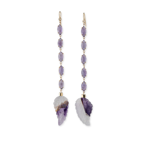 MARQUISE AMETHYST AND ETCHED LEAF EARRINGS