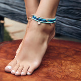 PAVE TUBE BEAD TURQUOISE BEADED ANKLET