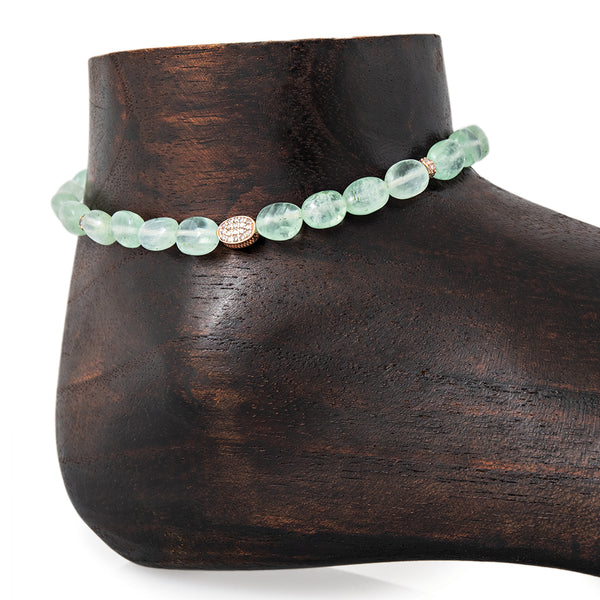 PAVE OVAL, 4 PAVE RONDELLE, OVAL BEADED GREEN CALCITE ANKLET