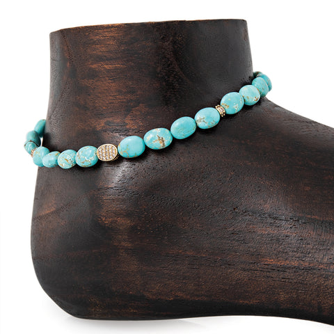 PAVE OVAL, 4 PAVE RONDELLE, OVAL BEADED TURQUOISE ANKLET