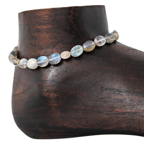 PAVE OVAL, 2 PAVE RONDELLE, OVAL BEADED LABRADORITE ANKLET