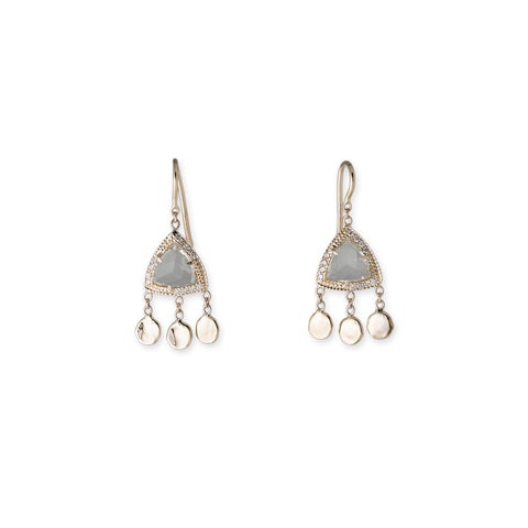 AQUAMARINE PYRAMID 3 DISC DROP EARRINGS