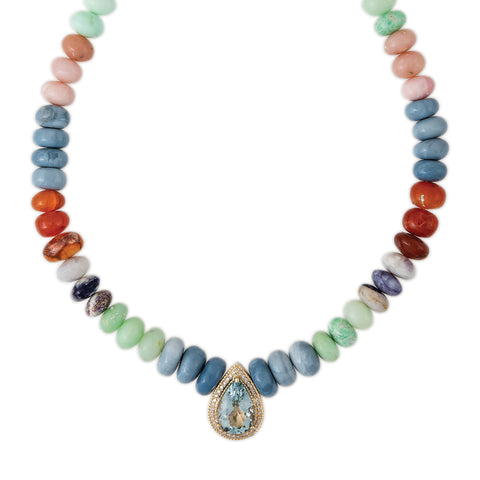 PAVE LARGE AQUAMARINE CENTER MULTI COLORED OPAL BEADED NECKLACE