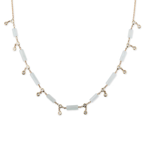 DIAMOND + AQUAMARINE BAR SHAKER NECKLACE