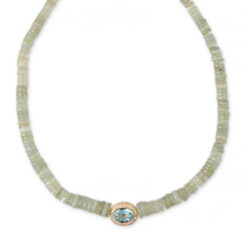 PAVE AQUAMARINE OVAL CENTER HEISHI AQUAMARINE BEADED NECKLACE