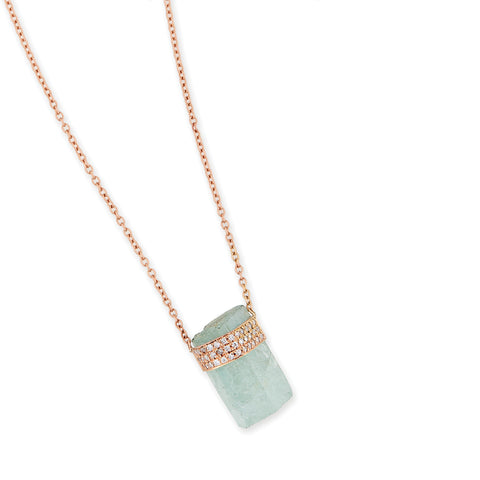 3 ROW PAVE DIAMOND AQUAMARINE CRYSTAL NECKLACE
