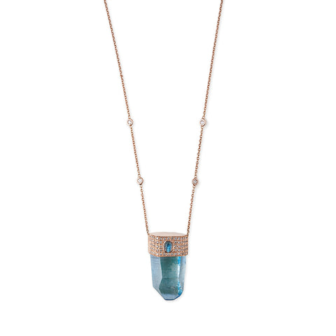 LABRADORITE CAP AQUA AURA CRYSTAL NECKLACE