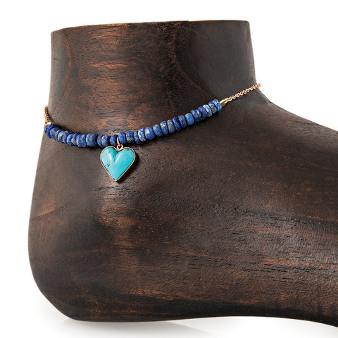 MINI TURQUOISE HEART CHARM PARTIAL LAPIS BEADED ANKLET