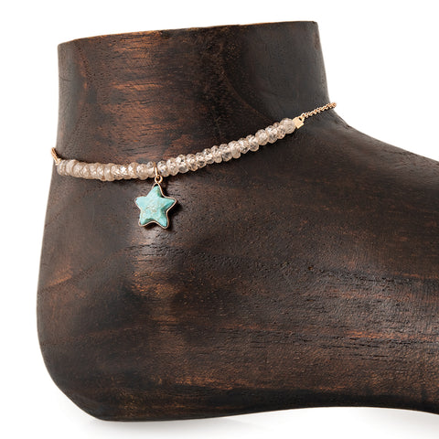 MINI TURQUOISE STAR CHARM PARTIAL CHAMPAGNE QUARTZ BEADED ANKLET