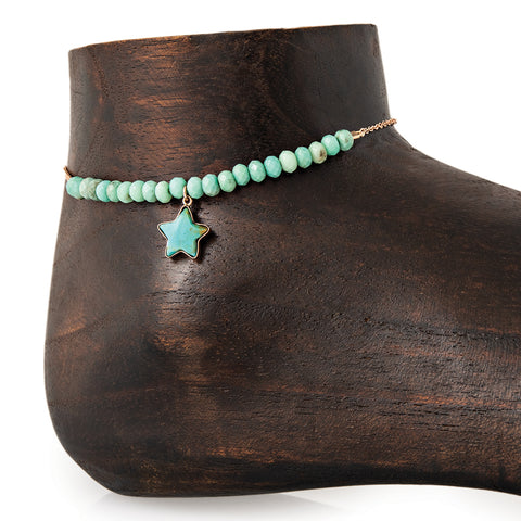 MINI TURQUOISE STAR CHARM PARTIAL CHRYSOPRASE BEADED ANKLET