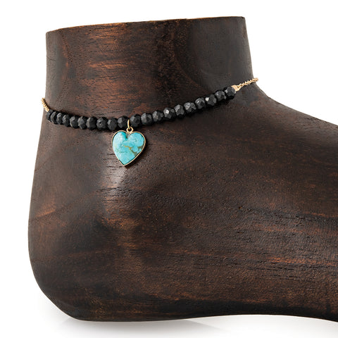 MINI TURQUOISE HEART CHARM PARTIAL ONYX BEADED ANKLET