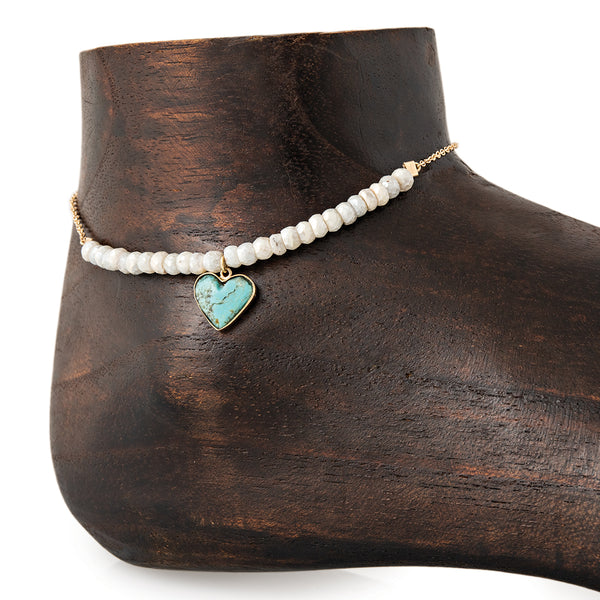 MINI TURQUOISE HEART CHARM PARTIAL WHITE SAPPHIRE BEADED ANKLET